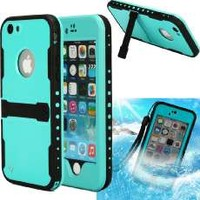 "iPhone 6 Case,iPhone 6 New Waterproof Case,Sophia Shop Touch ID IP-68 Waterproof Dirtproof Snowproof Triple Layer Kick-Stand Armor Durable Full Sealed Protection Case Cover for Apple iPhone 6 4.7""+ with Free Screen Protector (Purple)"
