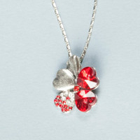 Austrian Crystal Four Leaf Leaves Clover Heart Rhinestones Necklace