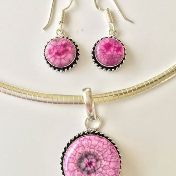 Pink Druzy sterling silver pendant and earrings set