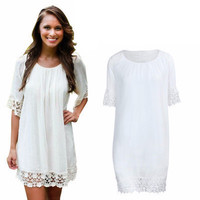 SIMPLE - White Laced Half Sleeve Fashionable One Piece Dress a12290
