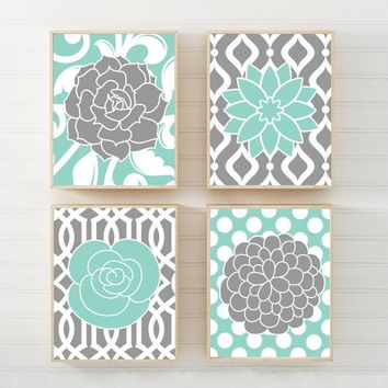Flower Pattern Design Wall Art, Aqua Gray Flower Bedroom Wall Art, Aqua Gray Floral Bathroom Decor, Living Room Canvas or Print Set of 4