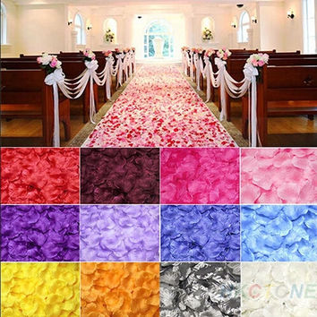 100pcs Chic Silk Rose Flower Petals Leaves Wedding Party Table Decorations  JK = 1931978116