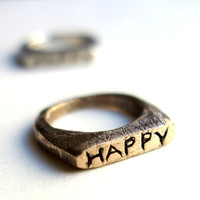 Handcarved Happy Ring