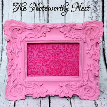 Pink Frame // ornate frame // baroque frame // pink decor // 4x6 frame // ornate frame // unique frame // girls bedroom // nursery decor