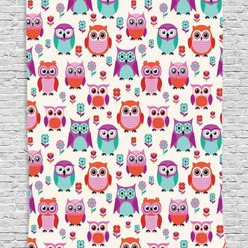 Kids Room Owl Party Boho Wall Tapestry