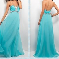 Glamorous blue chiffon formal the prom dress/evening dress