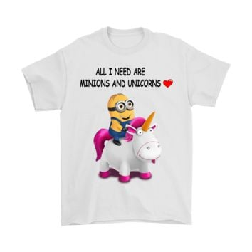 PEAP3CR All I Need Are Minions And Unicorns Despicable Me Shirts