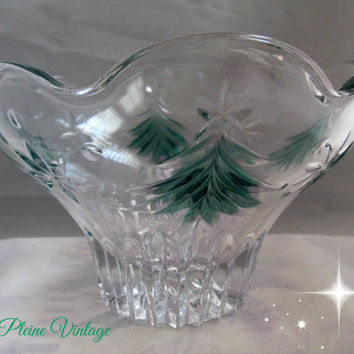 Vintage Mikasa Crystal Christmas Night Green Footed Bowl Holiday