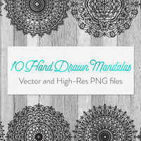10 Hand Drawn Vector Mandalas