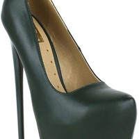 OLIVE FAUX LEATHER ALMOND TOE STYLE PLATFORM 6 INCH HIGH HEELS