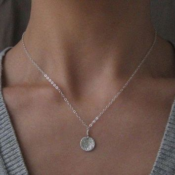 Tiny Moon Medallion Sterling Silver Necklace by kikisan on Etsy