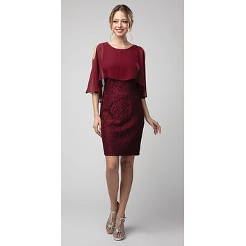 Lace Short Dress Burgundy with Cold-Shoulder Poncho