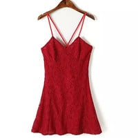 Pure Color Sexy Camisole Backless Lace Dress