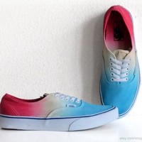 Turquoise, sky blue, yellow, red ombre dip dye Vans Authentic skate shoes, upcycled vi
