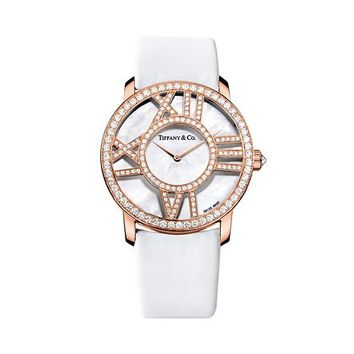 Tiffany & Co. -  Atlas® round cocktail watch in 18k rose gold with diamonds, quartz movement.