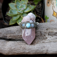 Rose Quartz Necklace - Moonstone & Larimar Jewelry - Spirit Quartz Necklace - Crystal Necklace - Wiccan Jewelry - Boho Chic - Hippie - Gypsy