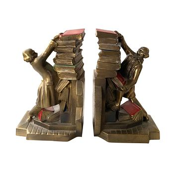 Eclectic Antique Brass Bookends