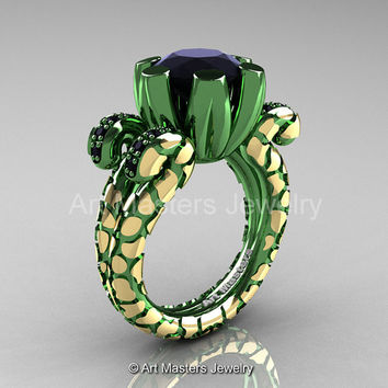 Art Masters Nature Fantasy 14K Green Yellow Gold 3.0 Ct Black Diamond Solitaire Ring R297-14KGYGBD