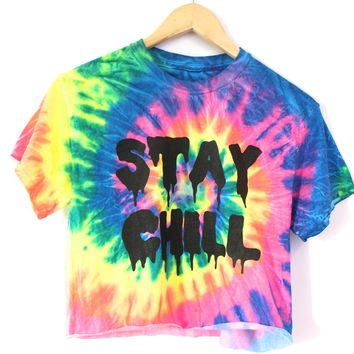 Stay Chill Rainbow Tie Dye Graphic Crop Top