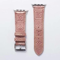LV EMBOSS APPLE WATCH BAND - PINK