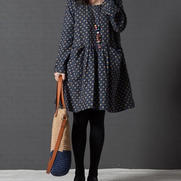 Women fall dresses, elegant dresses, ladies dresses, print dresses, loose dresses, cotton dresses, long sleeved casual dresses (ESR98)