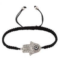 Ladies Black with Silver Iced Out Hamsa & Evil Eye Lace Bracelet