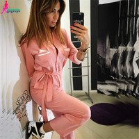 Gagaopt 2016 Autumn Women Jumpsuit Patchwork Body Strapless Halter Overalls Rompers Womens Vintage Bodysuit Sexy Bodysuit