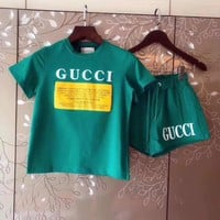 Gucci Print Short sleeve Top Shorts Pants Sweatpants Set Two-Piece Sportswear