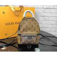 LV Tide brand old flower color matching women's mini backpack brown print