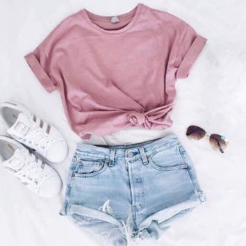 Simple Cute Short Sleeve Round neck T-shirt Cotton Shirt