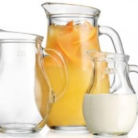 Durable Clear Glass 3-piece Pitcher Set ~ 0.50-L /0.25-L /1-liter Jugs with Handle Party Set