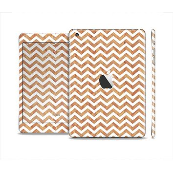 The Wood & White Chevron Pattern Skin Set for the Apple iPad Mini 4