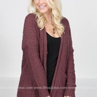 Aspen Knit Pocket Cardigan | Burgundy