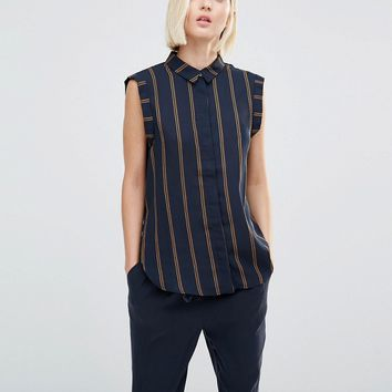 Selected Louay Sleeveless Stripe Shirt at asos.com