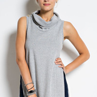 Sleeveless Cowl Neck Top - Black- FINAL SALE
