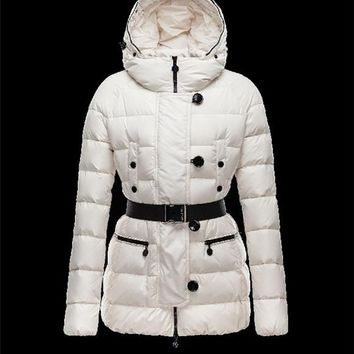 Moncler GENE Turtleneck Detachable belt Ivory Jackets Nylon/Racoon Womens 41456957NI