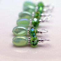 Green Pearlized AB Twisted and Green AB Rondelle Crystal Bead Dangle Charm Set - 6 Piece