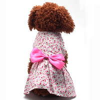 Puppy Clothes for dogs Floral Flower Dress Skirt Bowknot Princess Clothes