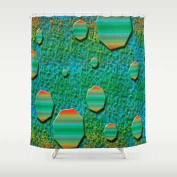Celestial Octagon Orbs of Planet Uranus Shower Curtain by Distortion Art