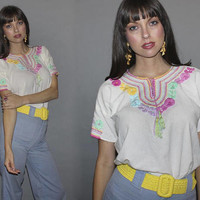 Vintage 60s MEXICAN BLOUSE / PASTEL Floral Embroidery / Airy, Cotton Linen Festival Top / Oaxacan Short Sleeve Top / Hippie, Boho, Groovy