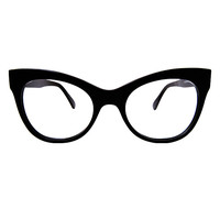 Square Cat Eye Glasses / Black