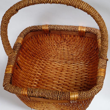 Gathering Basket, Natural Reed, Woven with Thread, Wrapped Handle and Rim, Country Farmhouse Decor, Large to Medium Basket