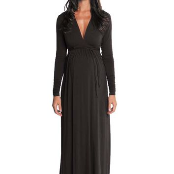 Olian Lucy Long Sleeve Maternity Maxi Dress