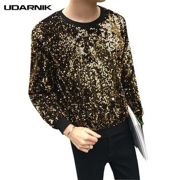 Men Sequin Bling Hoodies Long Sleeve O-Neck Cotton Glitter Pullover Sweatshirt  Shiny DJ Costume Tops Fashion 200-A602