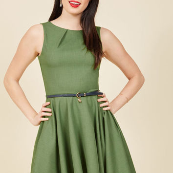Luck Be a Lady A-Line Dress in Fern