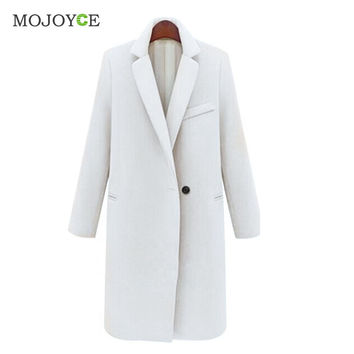 Fashionable Warm Wool Trench Coat Lapels Long Slim Woolen Trench Coat Jacket Artificial Cashmere Overcoat Outwear SN9