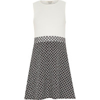 River Island Girls white geo print A-line dress