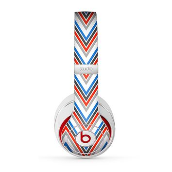 The Red-White-Blue Sharp Chevron Pattern Skin for the Beats by Dre Studio (2013+ Version) Headphones