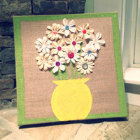 12x12in Hand Painted Flower Arrangement Burlap Canvas