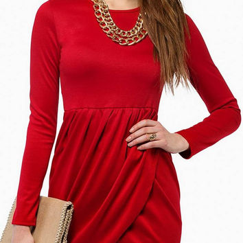 Red Long Sleeves Mini Dress